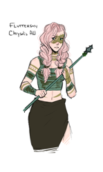 Size: 382x640 | Tagged: safe, artist:demdoodles, fluttershy, human, the cutie re-mark, alternate timeline, belly button, braid, chrysalis resistance timeline, female, humanized, midriff, simple background, solo, spear, tribal marking, tribalshy, weapon, white background