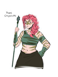 Size: 480x635 | Tagged: safe, artist:demdoodles, pinkie pie, human, the cutie re-mark, alternate timeline, belly button, chrysalis resistance timeline, female, hand on hip, humanized, midriff, simple background, solo, spear, tribal marking, tribal pie, weapon, white background