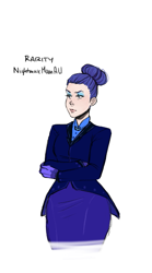 Size: 357x640   Tagged: safe, artist:demdoodles, rarity, human, the cutie re-mark, alternate timeline, crossed arms, female, hair bun, humanized, night maid rarity, nightmare takeover timeline, simple background, solo, white background