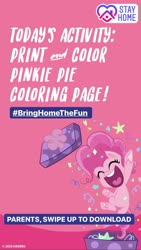 Size: 1080x1920 | Tagged: safe, pinkie pie, earth pony, pony, my little pony: pony life, coronavirus, instagram story, official, solo, text