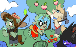 Size: 1920x1200 | Tagged: safe, artist:brainiac, oc, oc:brush stroke, oc:haymaker, oc:piper, oc:servus, oc:servus liber, animal crossing, animal crossing: new horizons