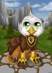 Size: 2480x3508 | Tagged: safe, artist:nuumia, oc, griffon, badge, beak hold, chickub, solo, warcraft, world of warcraft