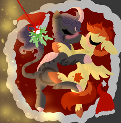 Size: 1940x1980 | Tagged: safe, artist:nootaz, oc, oc only, oc:dazzling flash, oc:maple syrup, kirin, pegasus, zebra, blushing, christmas, couple, cuddling, female, holiday, hybrid oc, kirin oc, kissing, male, mapling, mistletoe, oc x oc, pegasus oc, shipping, straight, wings, zebra oc