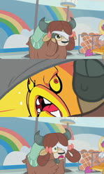 Size: 607x1017 | Tagged: safe, edit, edited screencap, screencap, smolder, yona, yak, 2 4 6 greaaat, spoiler:s09e15, blindfold, bow, cloven hooves, female, hair bow, monkey swings, peeking, simple background, sonic the hedgehog (series), template, zomom