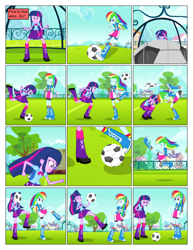 Size: 612x792 | Tagged: safe, artist:greatdinn, artist:newbiespud, edit, edited screencap, screencap, rainbow dash, twilight sparkle, comic:friendship is dragons, equestria girls, equestria girls (movie), clothes, collaboration, comic, cutie mark, cutie mark on clothes, dialogue, eyes closed, female, football, grin, screencap comic, smiling, sports