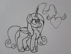 Size: 2576x1932   Tagged: safe, artist:drheartdoodles, princess cadance, alicorn, chest fluff, heart, magic, smiling, traditional art