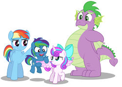 Size: 5625x4000 | Tagged: safe, artist:aleximusprime, princess flurry heart, rainbow dash, spike, oc, oc:storm streak, alicorn, dragon, pegasus, pony, flurry heart's story, adult, adult spike, bow, chubby, colt, different hairstyle, fat, fat spike, female, first meeting, male, mother, offspring, older, older spike, parent:oc:thunderhead, parent:rainbow dash, parents:canon x oc, rainbow mom, simple background, son, transparent background, wings