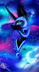 Size: 1024x1886 | Tagged: safe, artist:purediamond360, nightmare moon, alicorn, pony, digital art, female, helmet, mare, signature, slit eyes, solo