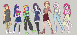 Size: 4400x2000 | Tagged: safe, artist:pettypop, applejack, fluttershy, pinkie pie, rainbow dash, rarity, sci-twi, sunset shimmer, twilight sparkle, equestria girls, clothes, fashion, fashion style, gray background, humane five, humane seven, humane six, simple background, toy