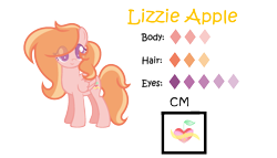 Size: 1773x1012 | Tagged: safe, artist:frozengembases, artist:sparkleheartyrose24, oc, oc only, oc:lizzie apple, pegasus, pony, base used, colored pupils, cute, cutie mark, female, looking at you, mare, next generation, offspring, parent:big macintosh, parent:fluttershy, parents:fluttermac, pegasus oc, reference sheet, simple background, solo, transparent background, wings