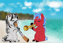Size: 1280x872 | Tagged: safe, artist:miyathegoldenflower, oc, oc only, oc:bobby baseline, oc:rain rhythm, earth pony, hybrid, zony, fanfic:ponyville noire, beach, chibi, didgeridoo, female, husband and wife, male, music, musical instrument, oc x oc, shipping, trumpet