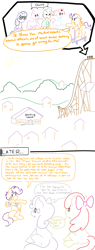 Size: 1000x2624 | Tagged: safe, artist:doodledandy, apple bloom, cheerilee, mayor mare, nurse redheart, scootaloo, sweetie belle, twilight sparkle, alicorn, earth pony, pegasus, pony, unicorn, allegory, bandage, comic, current events, dark comedy, funny, implied death, limited palette, ramp, scooter, text, twilight sparkle (alicorn)