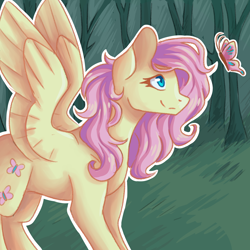 Size: 2000x2000 | Tagged: safe, artist:flaming-trash-can, fluttershy, butterfly, pegasus, pony, female, forest, looking at something, looking up, mare, outdoors, outline, profile, sidemouth, smiling, solo, spread wings, standing, white outline, wings