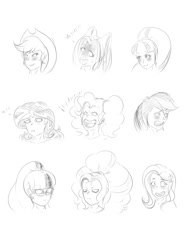 Size: 1500x2000 | Tagged: safe, artist:albertbm, adagio dazzle, applejack, aria blaze, fluttershy, pinkie pie, rainbow dash, sci-twi, sonata dusk, sunset shimmer, twilight sparkle, equestria girls, blushing, bust, evil laugh, laughing, monochrome, simple background, sketch, the dazzlings, traditional art, white background