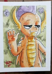 Size: 1436x2048   Tagged: safe, artist:raph13th, smolder, traditional art, watercolor painting