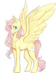 Size: 2000x2592 | Tagged: safe, artist:sychia, fluttershy, pegasus, pony, digital art, female, mare, simple background, smiling, solo, spread wings, transparent background, wings