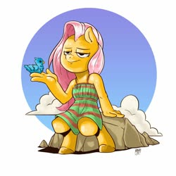 Size: 2000x2000   Tagged: safe, artist:raph13th, fluttershy, anthro, bird, unguligrade anthro, clothes, dress, sitting
