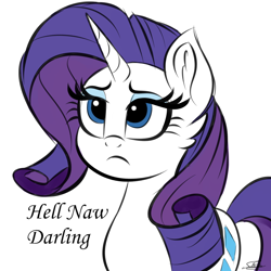 Size: 1000x1000 | Tagged: safe, artist:sadtrooper, rarity, pony, unicorn, cheek fluff, darling, female, mare, rarity is not amused, reaction image, simple background, sketch, solo, unamused, white background