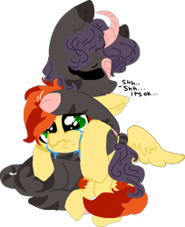 Size: 704x861 | Tagged: safe, artist:nootaz, oc, oc only, oc:dazzling flash, oc:maple syrup, hybrid, kirin, pegasus, zebra, crying, dialogue, eyes closed, hug, hybrid oc, kirin oc, mapling, oc x oc, pegasus oc, petting, shipping, simple background, transparent background, wings, zebra oc
