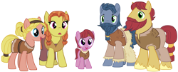 Size: 10350x4190 | Tagged: safe, artist:andoanimalia, jorunn, sigrid, earth pony, pony, campfire tales, absurd resolution, background pony, beard, braid, braided beard, clothes, colt, facial hair, female, foal, male, mare, moustache, simple background, stallion, transparent background, unnamed pony, vector