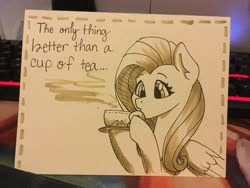Size: 3264x2448 | Tagged: safe, artist:cadetredshirt, fluttershy, pegasus, pony, card, craft, cup, female, food, ink drawing, mare, monochrome, paper, papercraft, simple background, simple shading, solo, steam, tea, tea time, teacup, traditional art, wings