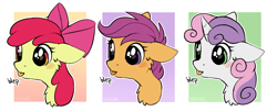 Size: 3597x1452   Tagged: safe, artist:trickate, apple bloom, scootaloo, sweetie belle, earth pony, pegasus, pony, unicorn, bow, cutie mark crusaders, female, filly, floppy ears, mare, rcf community, tongue out