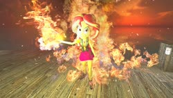 Size: 1280x720 | Tagged: safe, artist:horsesplease, sunset shimmer, equestria girls, 3d, evil grin, fiery shimmer, fire, gmod, grin, smiling, smirk