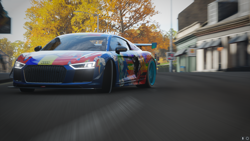 Size: 1920x1080 | Tagged: safe, rainbow dash, equestria girls, audi, audi r8, barely pony related, car, drifting, forza horizon 4, game screencap