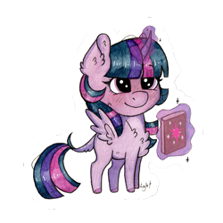 Size: 1535x1535 | Tagged: safe, alternate version, artist:lightisanasshole, twilight sparkle, alicorn, pony, adorkable, blushing, blushing profusely, book, cheek fluff, chest fluff, chibi, cute, dork, ear fluff, levitation, magic, redesign, simple background, solo, sticker, tail fluff, telekinesis, traditional art, transparent background, twiabetes, twilight sparkle (alicorn), watercolor painting
