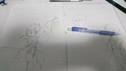 Size: 2048x1152 | Tagged: safe, artist:omegapony16, oc, oc only, changeling, pony, unicorn, changeling oc, eye scar, hoof hold, horn, irl, lineart, lined paper, notebook, photo, scar, sketch, sword, traditional art, unicorn oc, weapon
