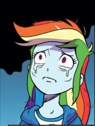 Size: 263x347 | Tagged: safe, artist:pencils, idw, rainbow dash, human, equestria girls, spoiler:comic, spoiler:comicequestriagirlsmarchradness, clothes, cropped, crying, cute, dashabetes, female, sad, sadorable, solo, teary eyes