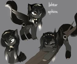 Size: 680x566 | Tagged: safe, artist:magnaluna, oc, oc only, oc:ishtar, sphinx, chest fluff, fluffy, gray background, simple background, solo, sphinx oc