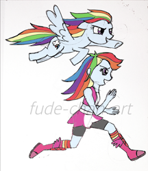 Size: 1488x1719 | Tagged: safe, artist:fude-chan-art, rainbow dash, human, pegasus, pony, equestria girls, boots, boxing boots, boxing shoes, boxing skirt, clothes, cycling shorts, exeron fighters, exeron outfit, female, human ponidox, mare, running, self ponidox, shoes, skirt, socks, sports bra