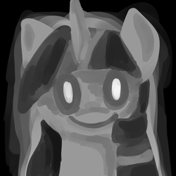 Size: 1024x1024 | Tagged: safe, artist:wimple, twilight sparkle, creepy, grayscale, head, looking at you, monochrome, solo, staring into your soul