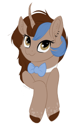 Size: 1231x1912 | Tagged: safe, artist:nyota71, oc, oc:shadow feather, pony, unicorn, body markings, bowtie, bust, colored hooves, ear fluff, ear piercing, earring, female, freckles, jewelry, looking at you, mare, piercing, simple background, smiling, smiling at you, solo, spots, transparent background