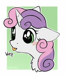 Size: 1210x1396 | Tagged: safe, artist:trickate, sweetie belle, pony, unicorn, :p, abstract background, blushing, bust, chest fluff, cute, diasweetes, ear fluff, female, filly, floppy ears, portrait, solo, tongue out