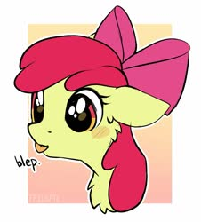 Size: 1313x1452 | Tagged: safe, artist:trickate, apple bloom, pony, :p, abstract background, adorabloom, big eyes, blushing, bow, bust, cheek fluff, chest fluff, cute, ear fluff, female, filly, floppy ears, portrait, solo, tongue out