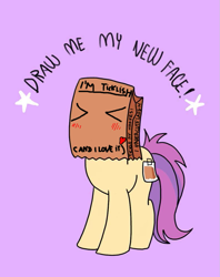 Size: 795x1005 | Tagged: safe, oc, oc:paper bag, cute, draw me my new face, imminent tickles
