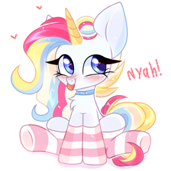Size: 4000x4000 | Tagged: safe, artist:pesty_skillengton, oc, oc only, pony, unicorn, chest fluff, chibi, clothes, cute, female, mare, socks, solo, striped socks, tongue out