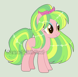 Size: 456x454 | Tagged: safe, artist:azura-spirit-soul, artist:selenaede, lemon zest, earth pony, pony, alternate hairstyle, alternate universe, base used, equestria girls ponified, eyeshadow, female, gray background, makeup, mare, ponified, ponytail, redesign, simple background, solo, watermark