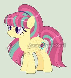 Size: 416x456 | Tagged: safe, artist:azura-spirit-soul, artist:selenaede, sour sweet, pegasus, pony, alternate hairstyle, alternate universe, base used, equestria girls ponified, female, freckles, gray background, mare, ponified, redesign, simple background, solo, watermark