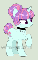 Size: 274x435 | Tagged: safe, artist:azura-spirit-soul, artist:selenaede, sunny flare, pony, unicorn, alternate hairstyle, alternate universe, base used, bedroom eyes, choker, cross, equestria girls ponified, eyeshadow, female, gray background, jewelry, makeup, mare, necklace, ponified, raised eyebrow, raised hoof, redesign, simple background, solo, watermark