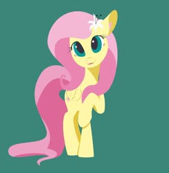 Size: 1920x1964 | Tagged: safe, artist:bluesound, artist:lollipony, fluttershy, pegasus, pony, colored, cute, ear fluff, female, flat colors, flower, flower in hair, folded wings, green background, looking at you, mare, open mouth, raised hoof, shyabetes, simple background, smiling, solo, standing, wings