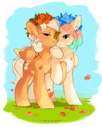 Size: 1200x1500 | Tagged: safe, artist:zlatavector, oc, oc only, pegasus, pony, blonde, commission, female, floral head wreath, flower, food, just married, lesbian, love, mare, married couple, oc x oc, orange, pegasus oc, shipping, simple background, sketch, white background, wings