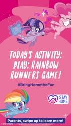 Size: 1080x1920 | Tagged: safe, pinkie pie, rainbow dash, twilight sparkle, alicorn, earth pony, pegasus, pony, my little pony: pony life, coronavirus, instagram story, official, text, twilight sparkle (alicorn)