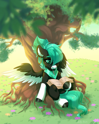 Size: 1200x1500 | Tagged: safe, artist:shady-bush, oc, oc only, pegasus, pony, book, ear piercing, earring, female, flower, hair over one eye, jewelry, looking at something, looking down, mare, mouth hold, mouth writing, neckerchief, outdoors, piercing, sitting, snip (coat marking), socks (coat marking), solo, spread wings, tree, two toned wings, under the tree, wings, writing