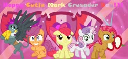 Size: 1280x587   Tagged: safe, artist:lachlancarr1996, apple bloom, babs seed, gabby, scootaloo, sweetie belle, adorababs, adorabloom, bow, cute, cutealoo, cutie mark, cutie mark crusader day, cutie mark crusaders, diasweetes, gabbybetes, mane bow, text, the cmc's cutie marks