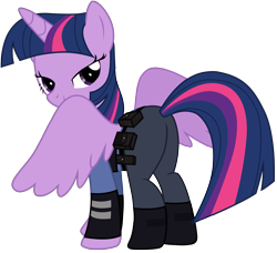 Size: 7825x7137 | Tagged: safe, artist:ejlightning007arts, twilight sparkle, alicorn, pony, absurd resolution, butt, clothes, cosplay, costume, disney, female, judy hopps, looking at you, police officer, simple background, smiling, solo, spread wings, transparent background, twibutt, twilight sparkle (alicorn), wings, zootopia