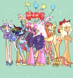 Size: 1200x1280 | Tagged: safe, artist:russianvore, applejack, fluttershy, pinkie pie, rainbow dash, rarity, twilight sparkle, butterfly, butterfly pony, earth pony, hybrid, pegasus, pony, unicorn, leak, spoiler:g5, applejack (g5), balloon, big ears, butterfly wings, earth pony twilight, female, fluttershy (g5), g5, hooves, large ears, mane six, mane six (g5), mare, pegasus pinkie pie, pinkie pie (g5), race swap, rainbow dash (g5), rarity (g5), redesign, simple background, smiling, spread wings, twilight sparkle (g5), wings