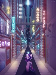 Size: 4000x5333 | Tagged: safe, artist:sol-r, starlight glimmer, unicorn, city, cityscape, cyberpunk, futuristic, glowing horn, horn, neon, road